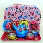 Flowers and Lady Bugs Tin Tea Set